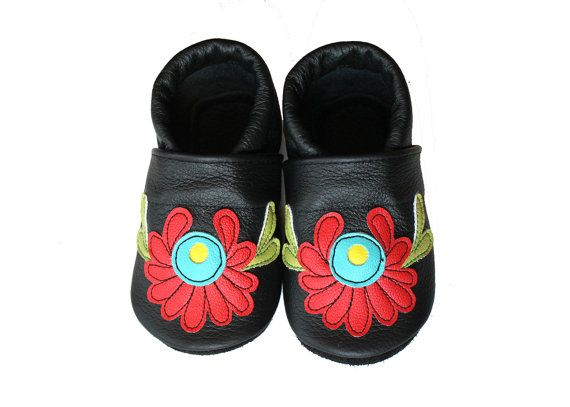 separation shoes a585c 722a2 Leather Baby Booties, Hungarian Baby Shoes, Black Red ...
