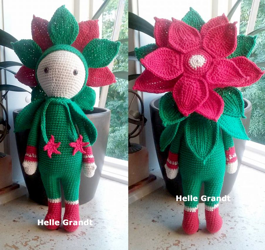 Julestjerne Kris blomst dukke lavet af Helle Grandt - hækleopskrift ved Zabbez