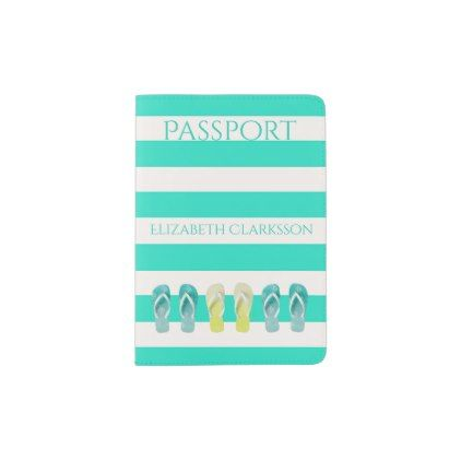 #stripes - #Mint green and white stripes with flip flop decor passport holder
