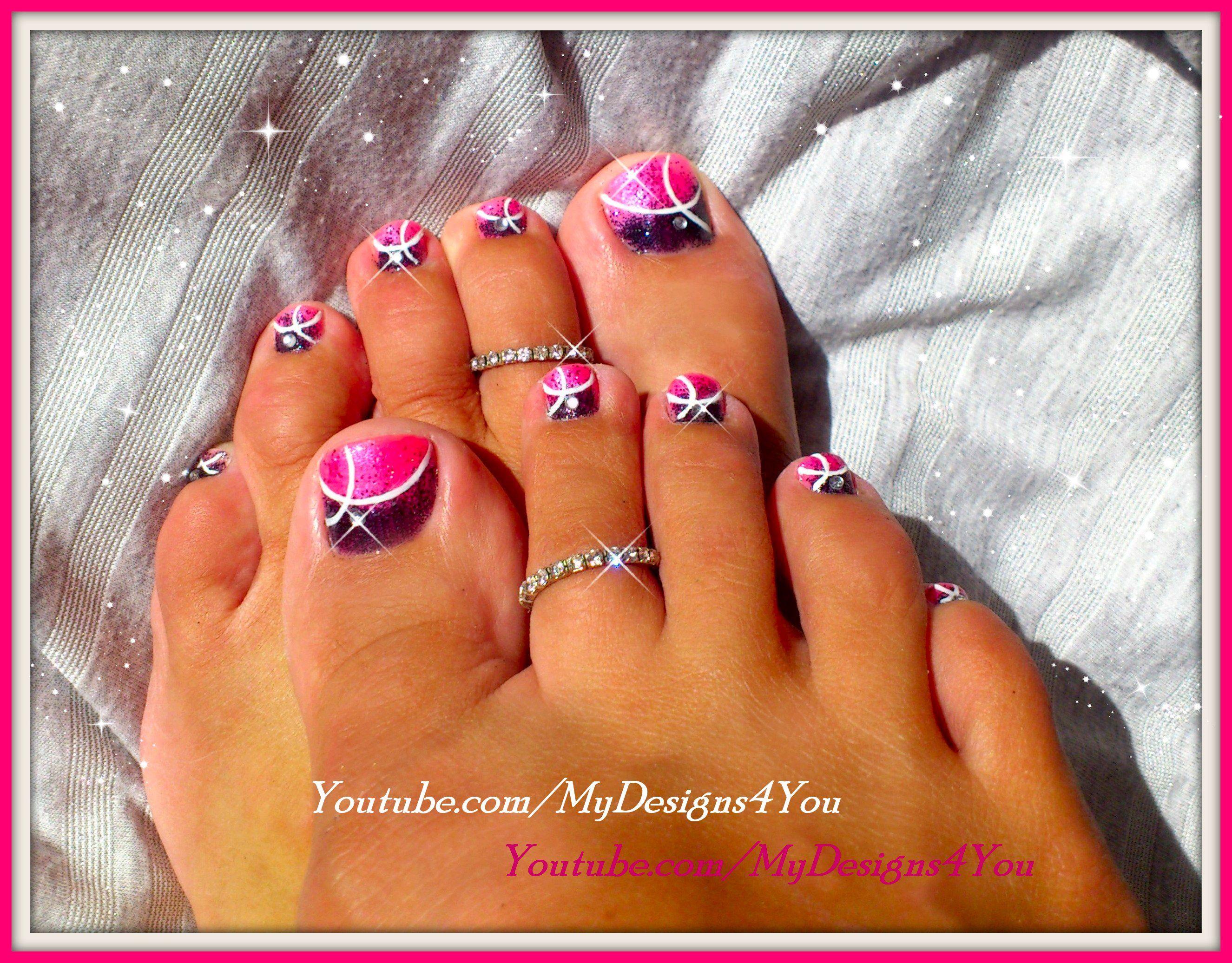 easy pink glitter toenail art design tutorial