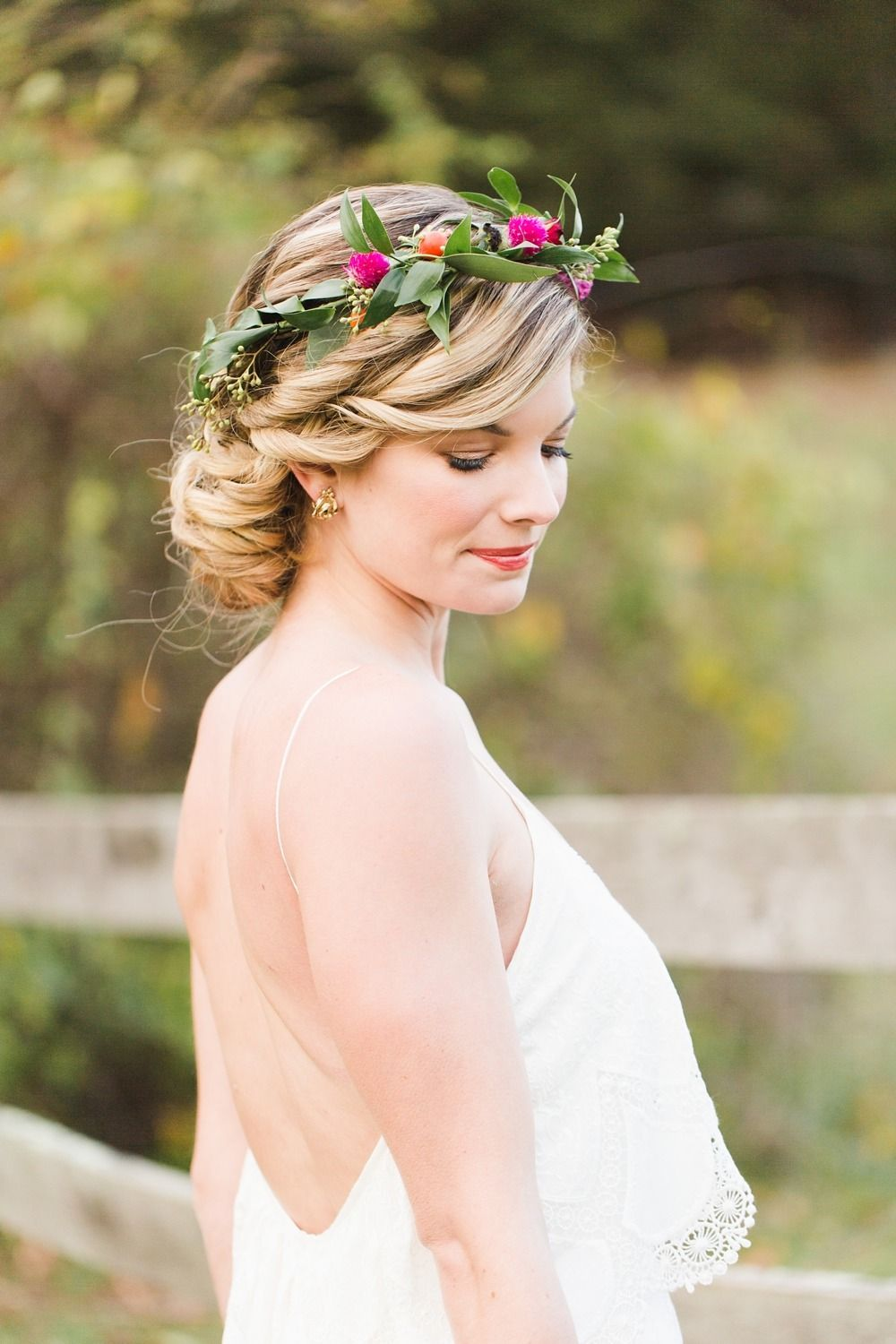 Late fall floral crown inspiration | Photography: Ashley Caroline Photography - www.ashley-caroline.com  Read More: http://www.stylemepretty.com/2015/02/10/colorful-late-fall-countryside-inspiration-shoot/