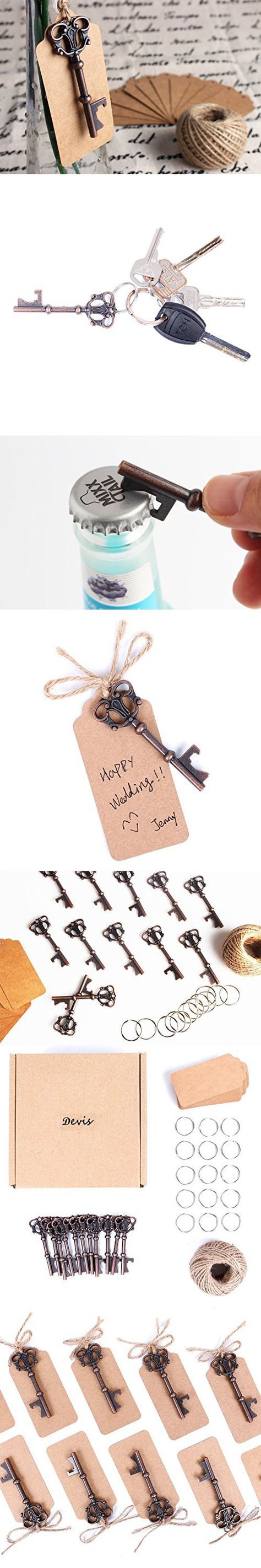 Wedding Favors Skeleton Key Bottle Opener with Escort Tag Card,Twine ...