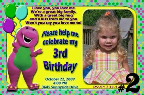 Get Barney Birthday Invitations Ideas Download this invitation for ...