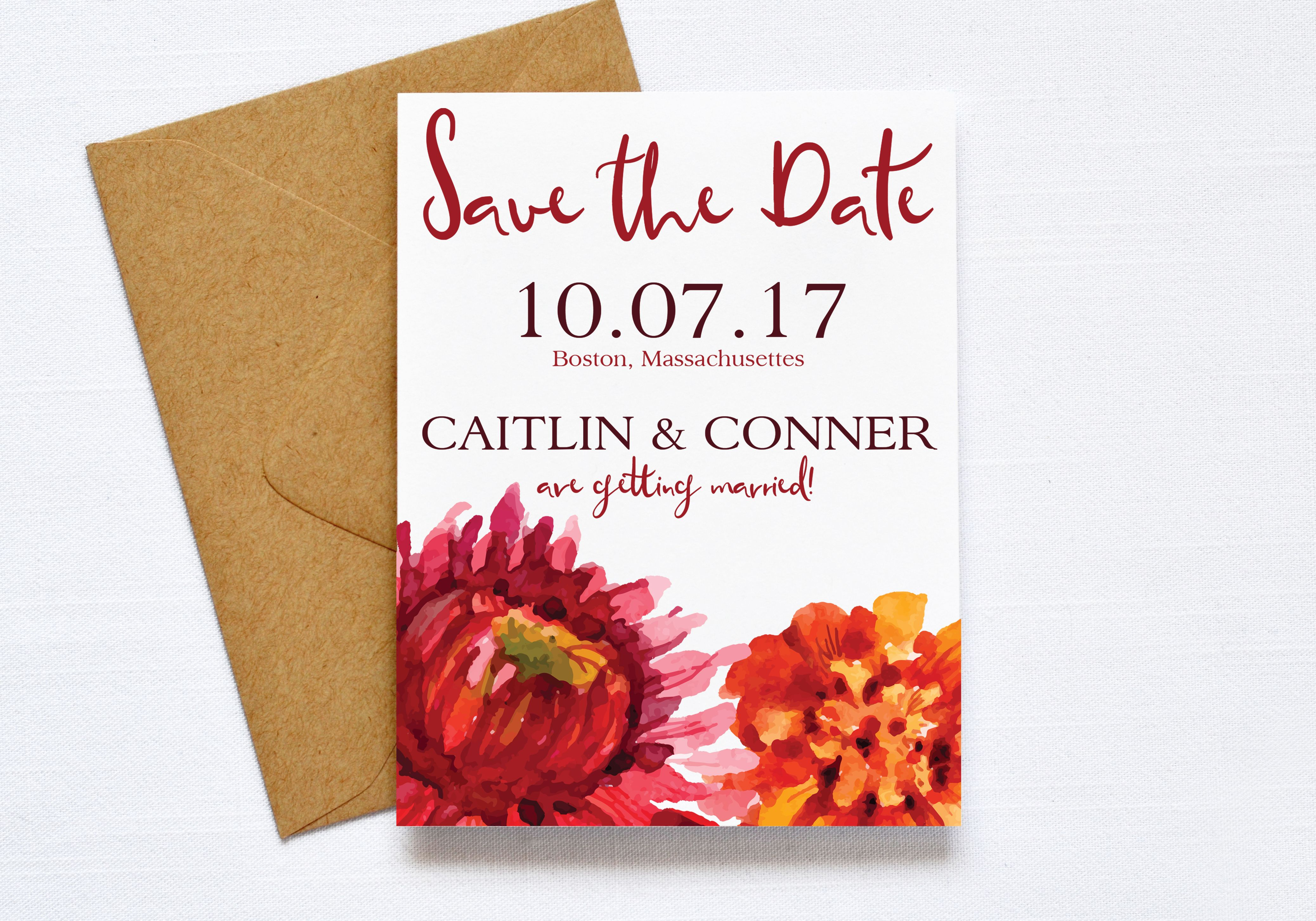 Fall Floral Wedding Save the Date, Flower Wedding, Autum Flowers ...