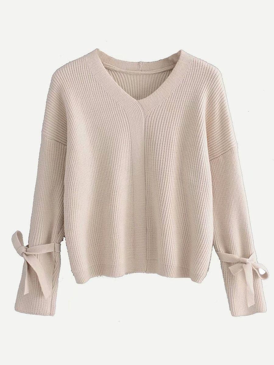 Pullover mit sehr tief angesetzter Schulterpartie und Band