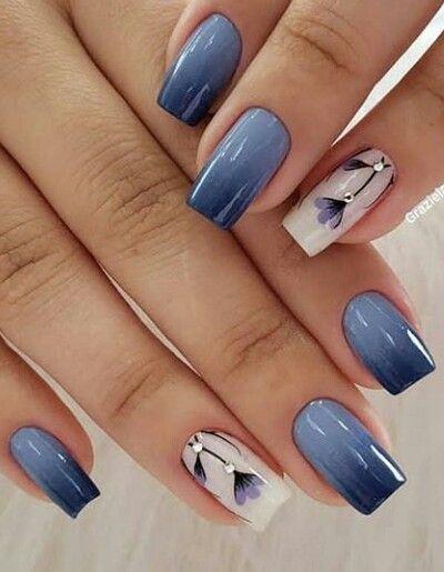 Azul Degradado Y Blancouñas Manicura De Uñas Uñas De Gel