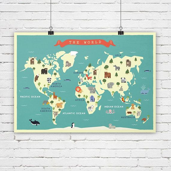 Carte Du Monde De Creche Animaux Carte Carte Pour Nursey
