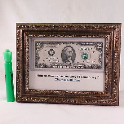 framed us two dollar bill and inspirational quote perfect for the desktop or anywhere else you - Dollar Bill Frame