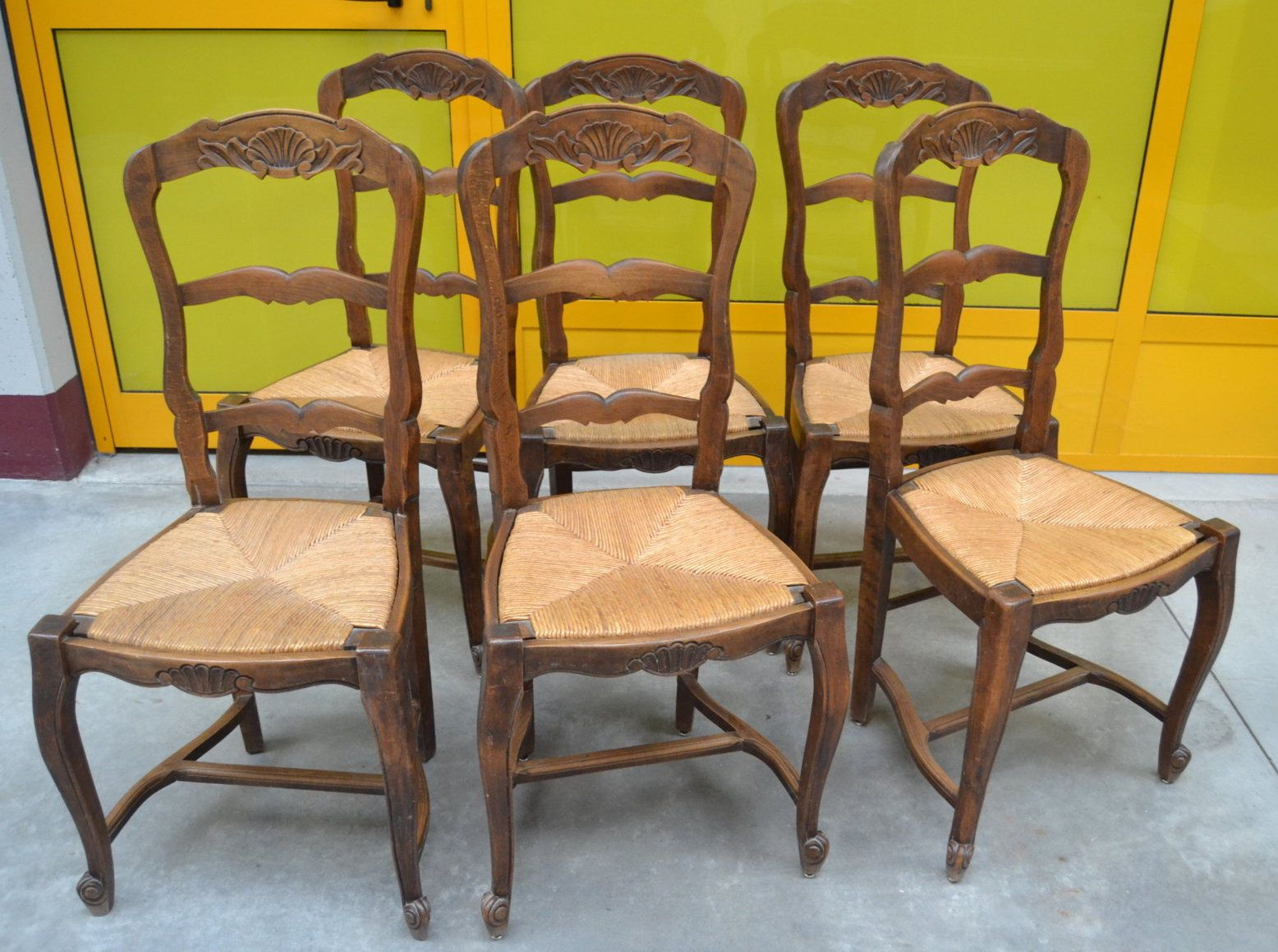 6 sedie provenzali in stile Luigi XV in faggio massello scolpite ...