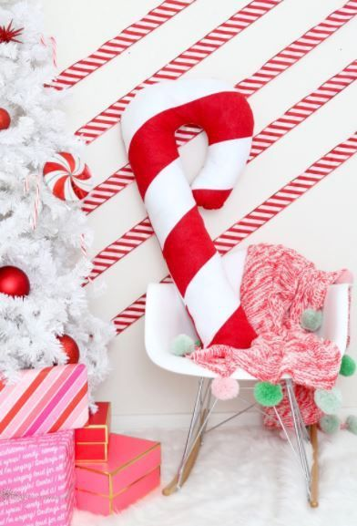 Large Candy Cane Decoration Tutorial Giant Candy Cane Pillow Craft Gossip  Giant Candy