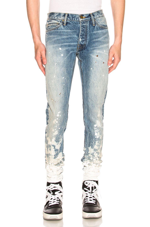 Fear Of God Skinny Fit Zip Detailed Painted Selvedge Denim Jeans In Indigo Romper Modesens Selvedge Denim Selvedge Denim Jeans Clothes