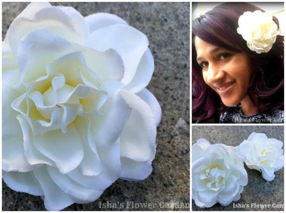 Gardenia Hair Flower Clip Gardenia Barrette White Gardenia Isha S Flower Garden Ishasflowergarden Flowers In Hair White Gardenia Flower Clip