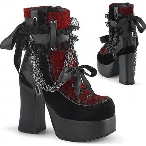 Charade Red and Black Lace Accent Ankle Boots with Platform Heel