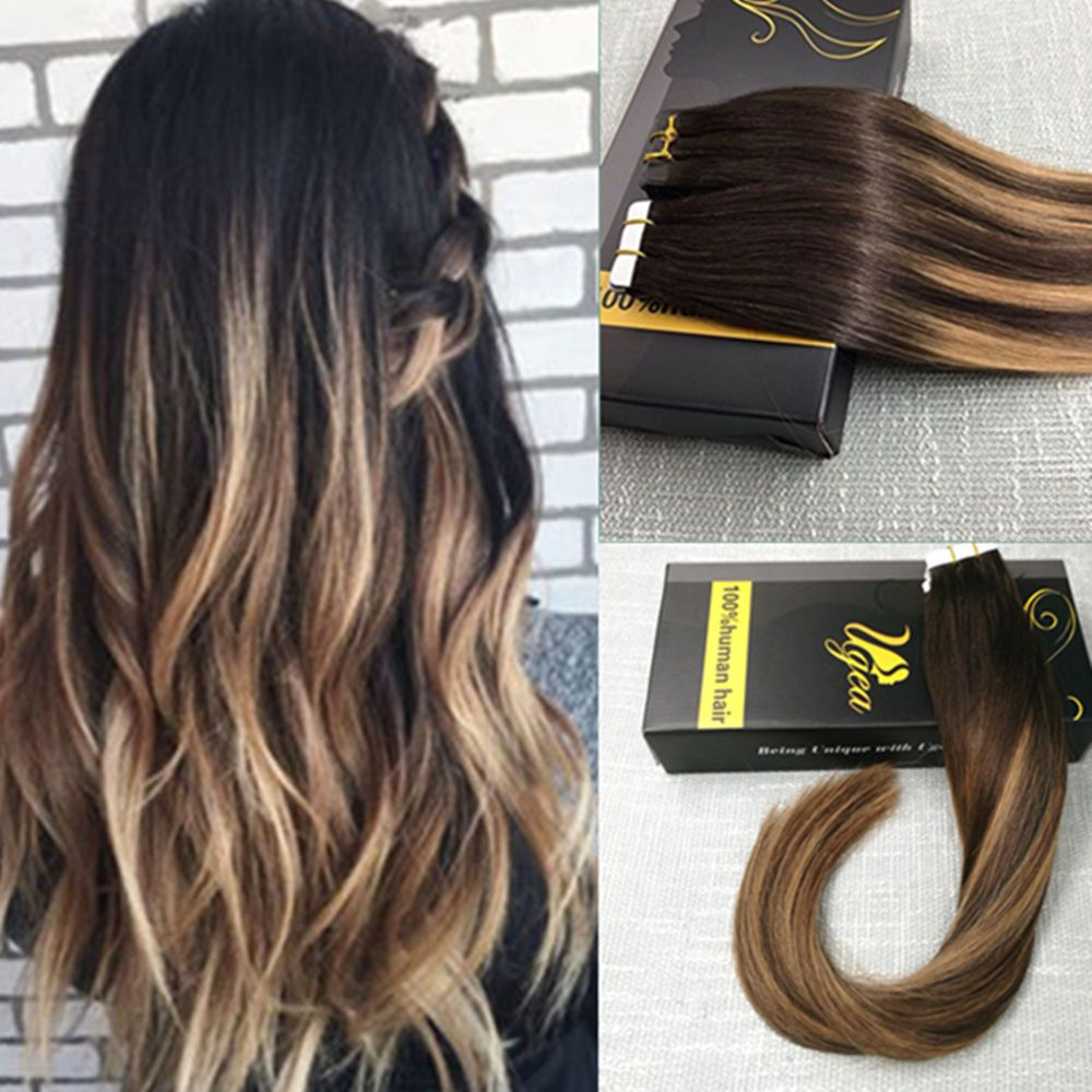 Rmey Tape In Human Hair Extensions Skin Weft Balayage Ombre Brown