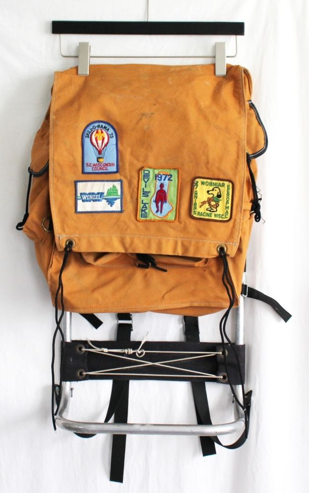 Vintage Canvas Boy Scout Backpack External Frame 70s Patches ...