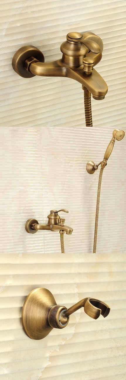 Antique Brushed Brass Bath Faucets Wall Mounted Bathroom Basin Mixer ...