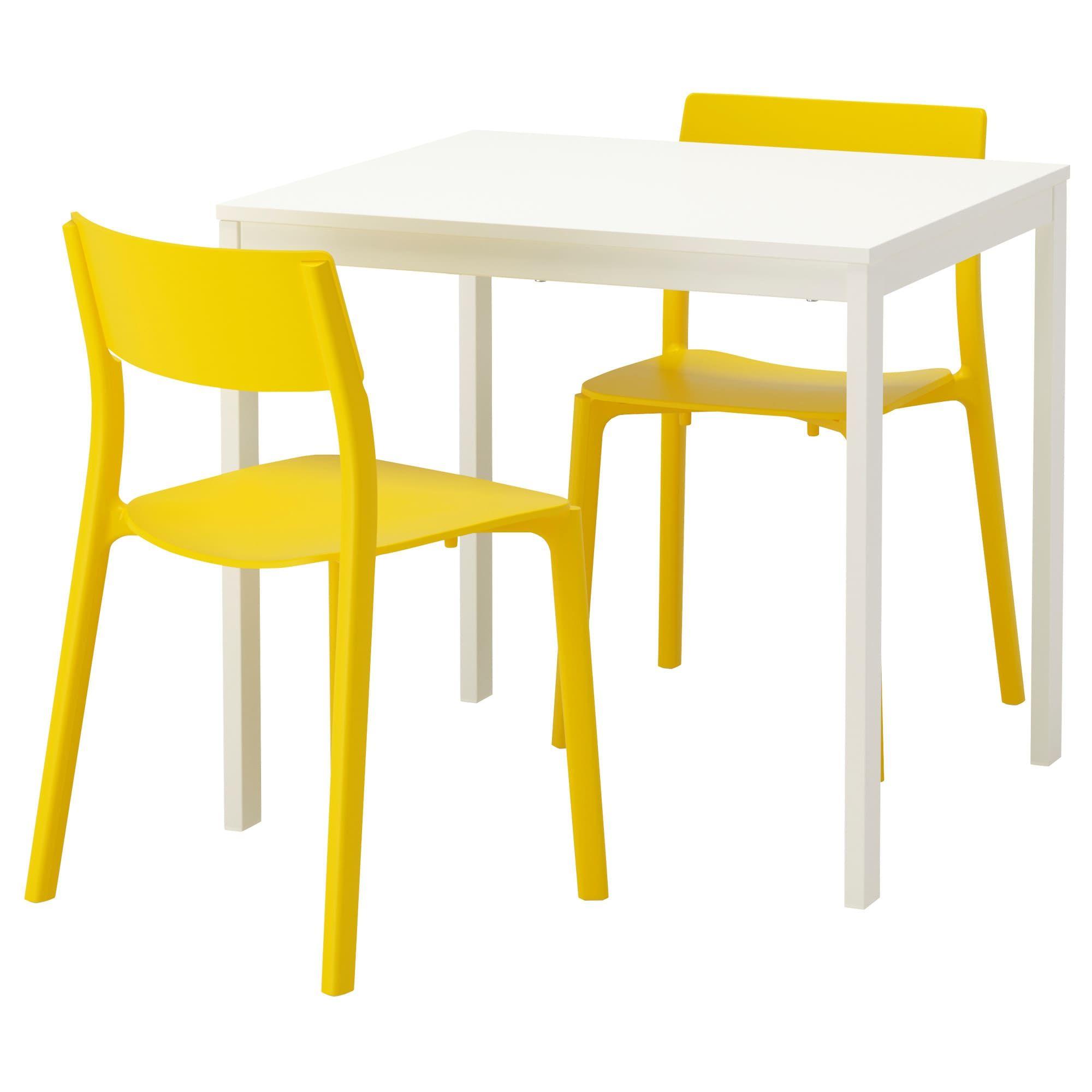 VANGSTA / JANINGE Tisch und 9 Stühle   weiß/gelb   IKEA ...