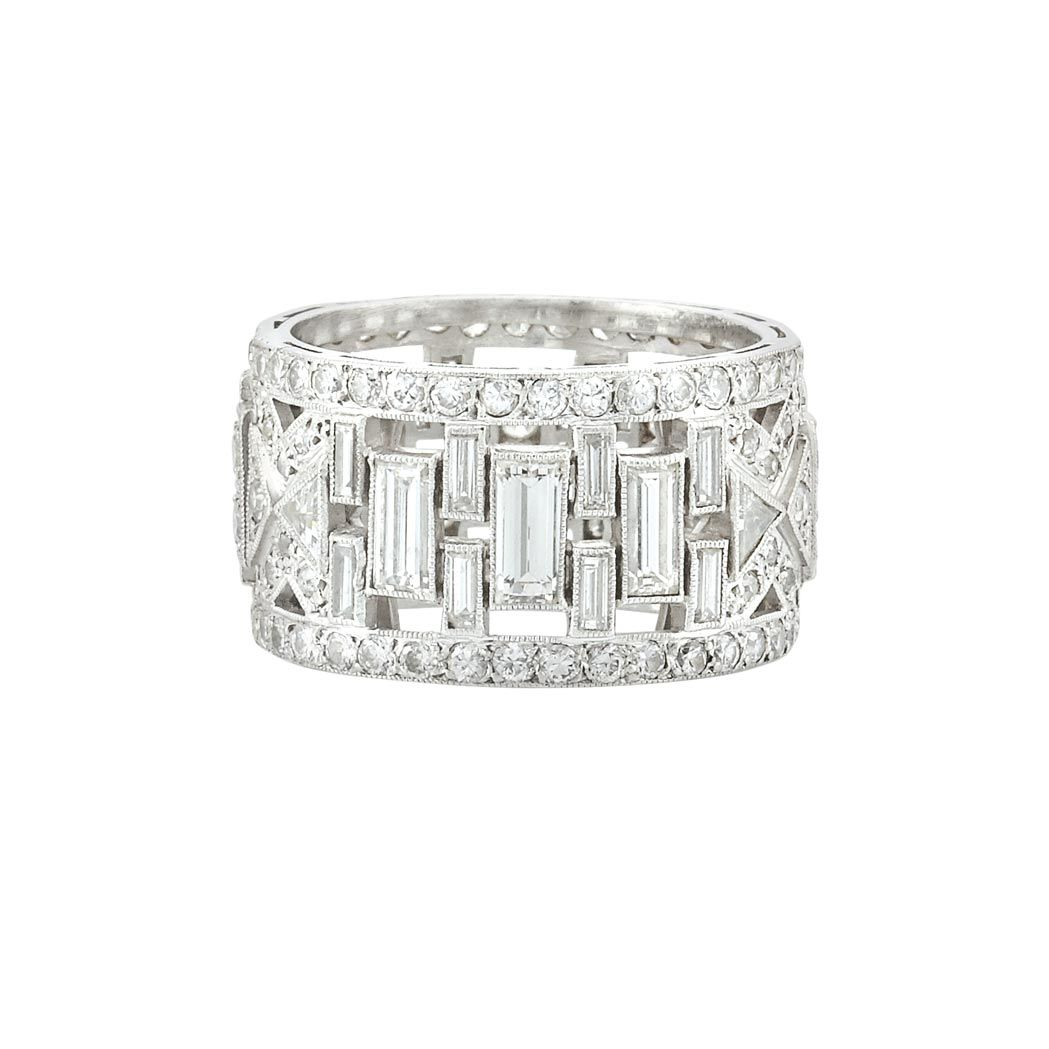 Art deco wide platinum and diamond band ring the pierced