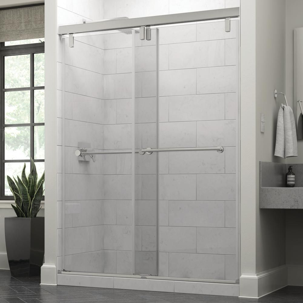 Delta Everly 60 X 71 1 2 In Frameless Mod Soft Close Sliding Shower Door In Chrome With 3 8 In 10mm Clear Glass Shower Doors Frameless Sliding Shower Doors Shower Door Handles