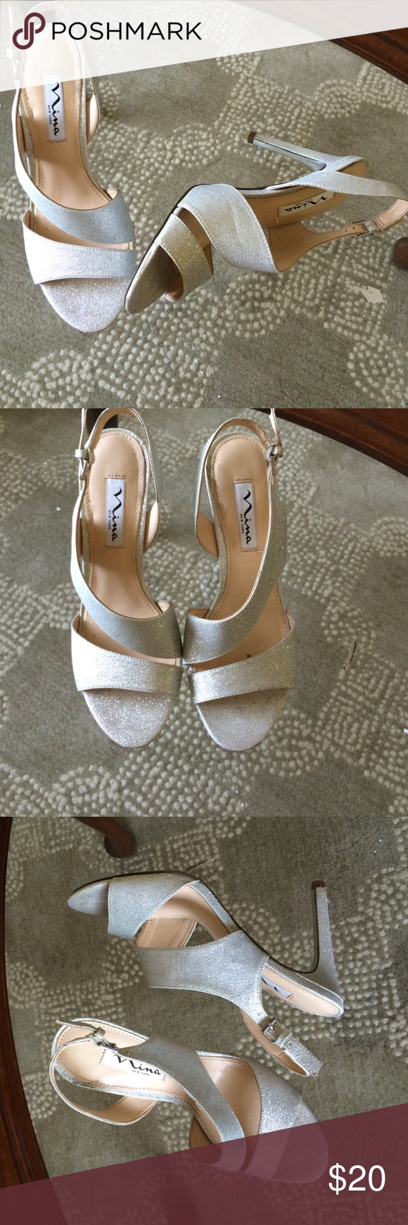 Silver Pumps Nina silver sparkle pumps with 4 inch heel. Worn just once for a wedding and are ready and waiting for the next special occasion. Nina Shoes Heels