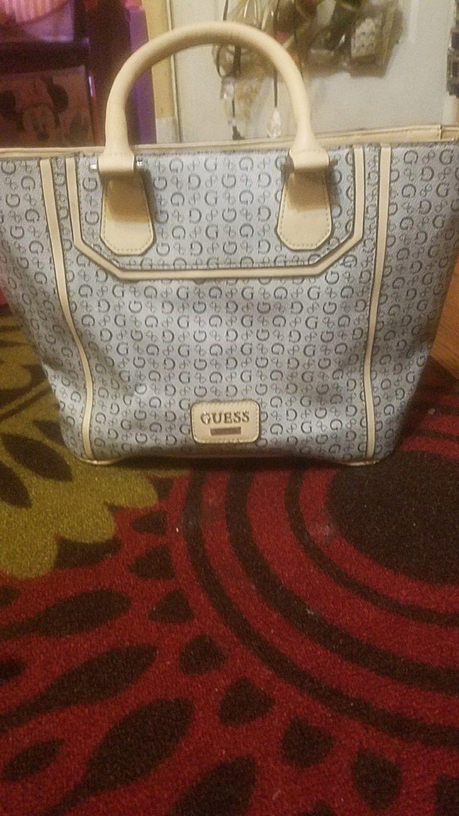 Guess Logo Purse Bag Designer Large Hand Bluetan Satchel G Tote ZZwrS