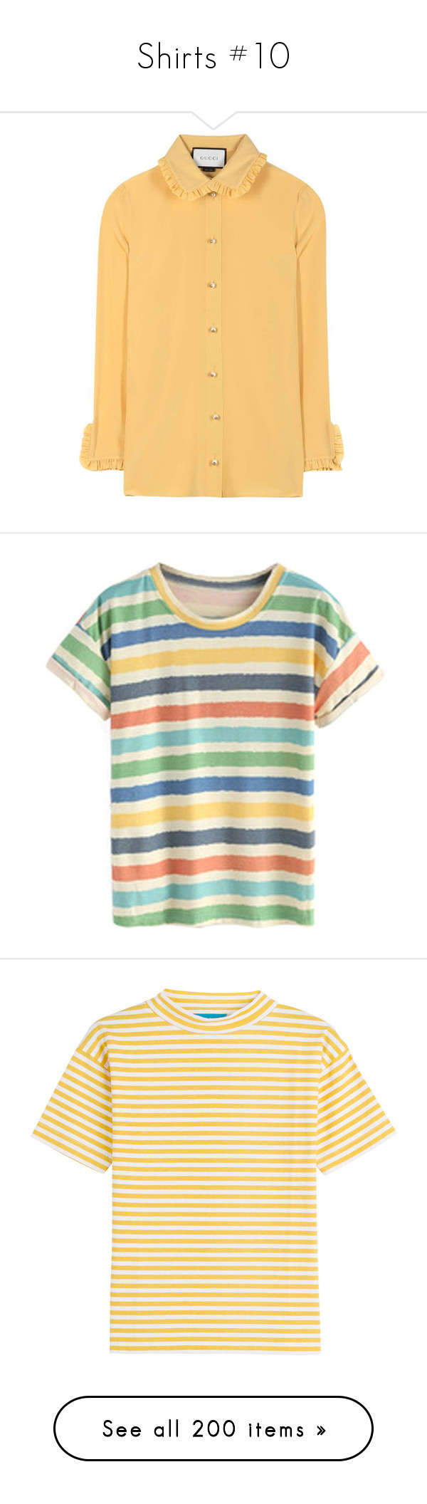 """""""Shirts #10"""" by banana-lee ❤ liked on Polyvore featuring tops, blouses, gucci, yellow, silk blouse, yellow ruffle blouse, yellow ruffle top, yellow top, t-shirts and striped tee"""