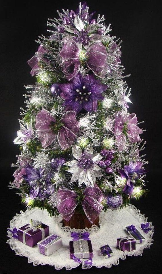 Purple Christmas Tree Skirt.This Listing Is For A Gorgeous One Of A Kind Fully Decorated