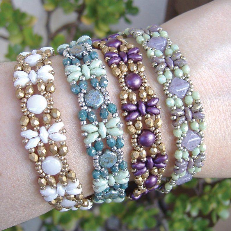 Filigree Bead Framed Bead Bracelet /& Earring Set
