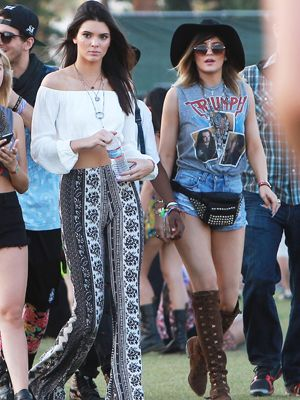 Kendall Jenner and Kylie Jenner look boho glam at day 2 of the second weekend of the Coachella Music and Arts Festival
