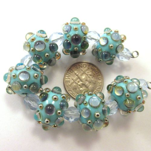 EDJ-TURQUOISE-BLING-Handmade-Glass-Lampwork-Beads-USA-SRA-Artist-Eric-Larson