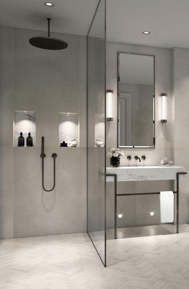 Modernes, minimalistisches Badezimmer mit ebenerdiger Dusche –  Badezimmer  Dusc… – 2019