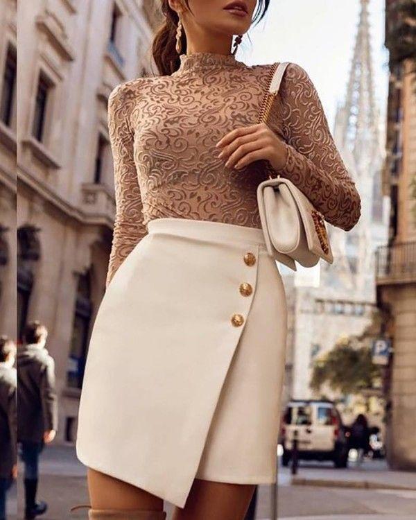 Photo of Solid Button Design High Waist Irregular Skirt