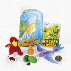 Dinosaur Dino-Mite Filled Loot Bag. Each pre-filled plastic loot bag includes a terrific assortment of dinosaur-themed toys and activities! Bag: 27.9 cm x 17.8 cm.   Assortment may vary; price is per filled bag