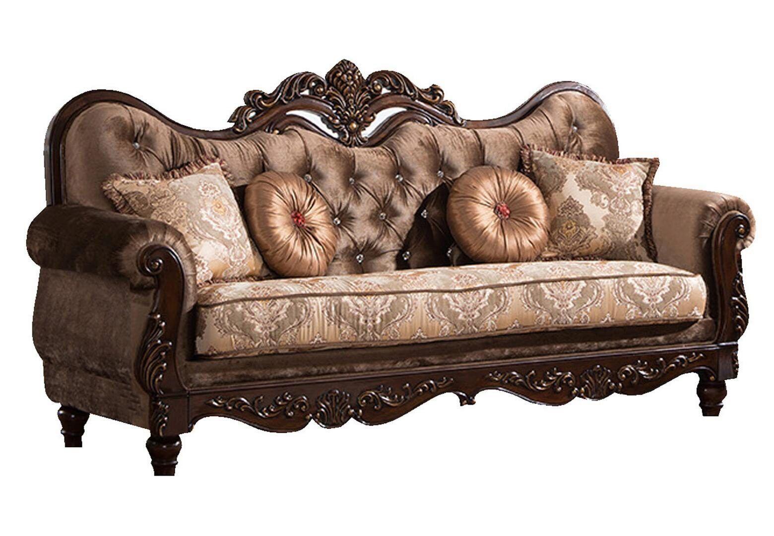 Cherry Finish Wood Sofa Traditional Cosmos Furniture Zoya