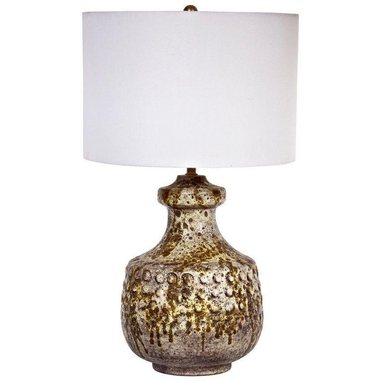 Alvino Bagni Hand Painted Dot Drip Glaze Ceramic Lamp 1950s Ceramic Lamp Mid Century Modern Ceramics Lamp
