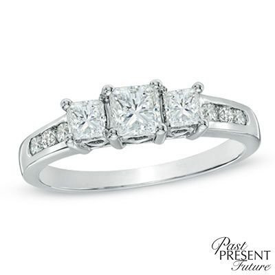 Previously Owned - 1 CT. T.W. Princess-Cut Diamond Past Present Future® Ring in 14K White Gold - Size 7 - Previously Owned - Zales