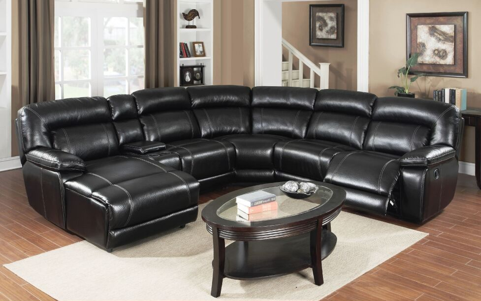 E Motion Black Reclining Sectional Sofa With Chaise And Console