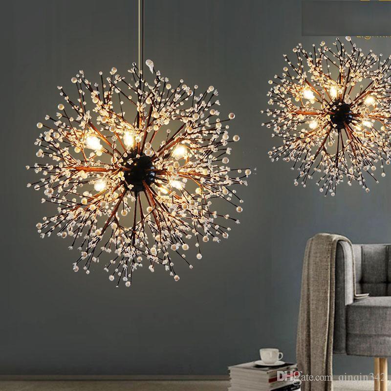 Dandelion Led Chandeliers European Creative K9 Crystal Dandelion Flowers Ball Pend Pendant Lamp Living Room Ceiling Lamps Living Room Living Room Pendant Light