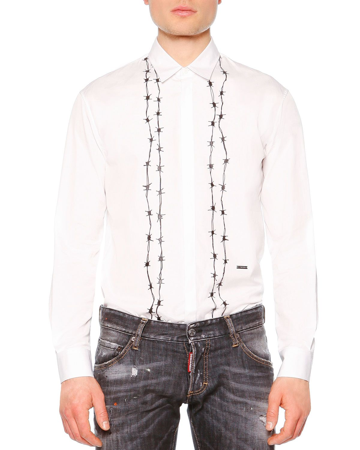 Barbed-Wire Print Long-Sleeve Shirt, White, Men s, Size  56 - Dsquared2.  Find this Pin and more on  Clothing   ... ae83c80e016c