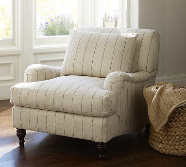 Carlisle Upholstered Armchair Potterybarn Striped Chair