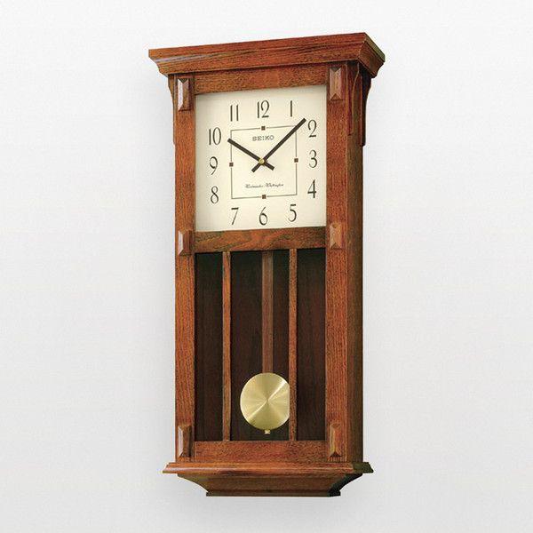 Seiko Wall Clock With Pendulum Dark Brown Case Westminster Whittington Chime