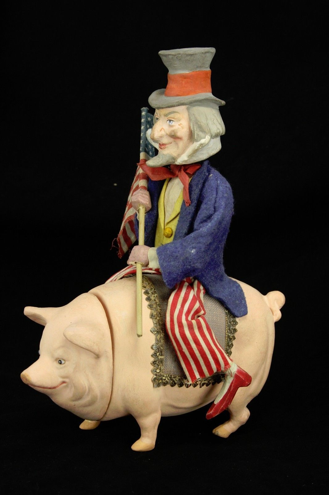 Antique German Uncle Sam Nodder On Pig Candy Container