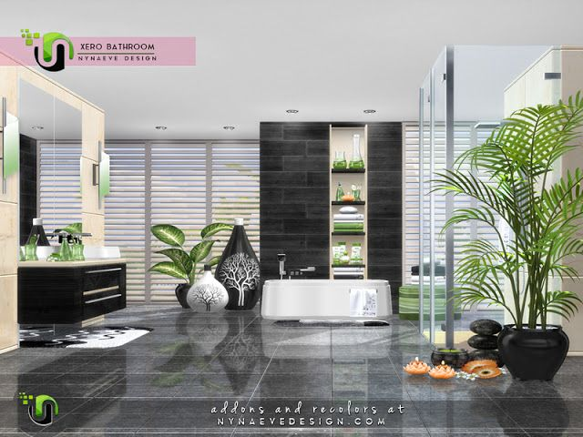 Sims 4 CC\'s - The Best: Xero Bathroom by NynaeveDesign | Sims 4 CC\'s ...