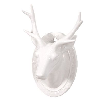 White Porcelain Deer Head With Antlers Wall Mounted Plaque White