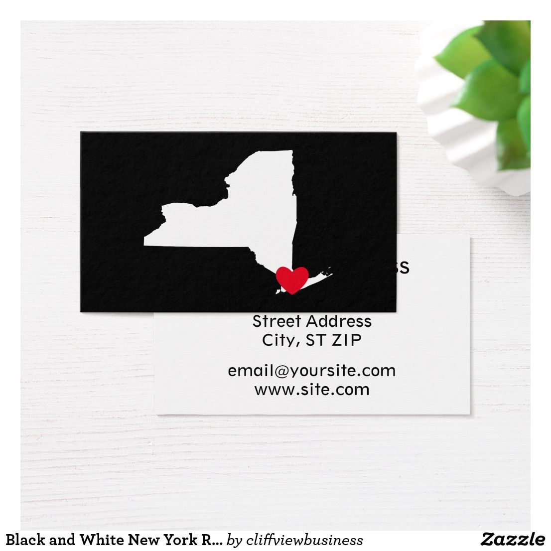 Black and white new york red heart business card online gifts
