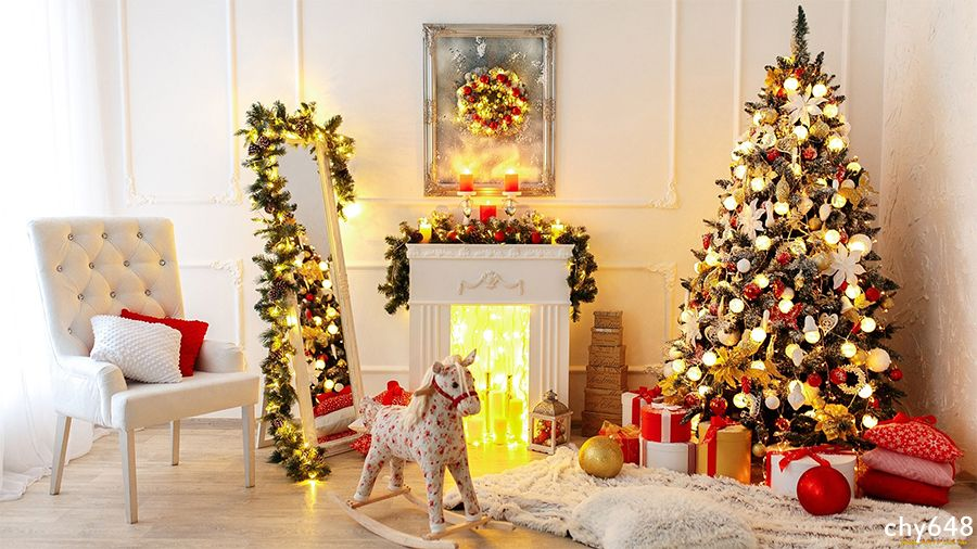 Christmas Interior Backdrop Xmas Tree Toys Gifts Fireplace Photography Background Christmas Room Interior Design Xmas Christmas Interiors Christmas tree living room background
