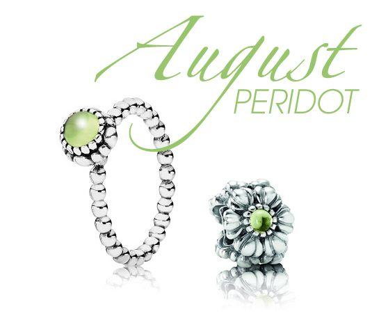 1f6929fd8 The Peridot birthday bloom ring and charm from Pandora. Peridot is the  birthstone for August, and ancient beliefs are said to bring good luck to  those who ...
