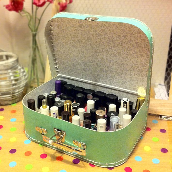 Use A Suitcase As A Cute Storage For Your Nail Polishes
