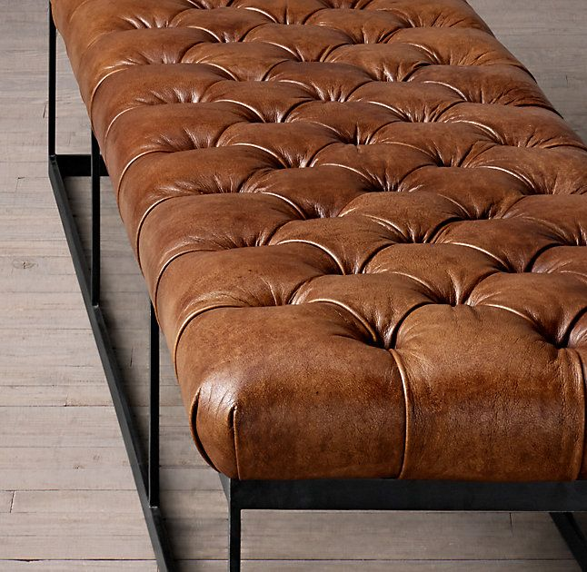 """78"""" Tufted Leather & Metal Bench"""