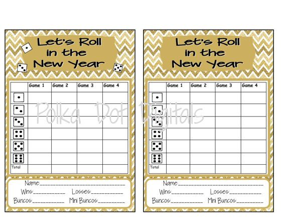 Buy 2 Get 1 Free New Year'S Complete Set Bunco Score Card Sheet